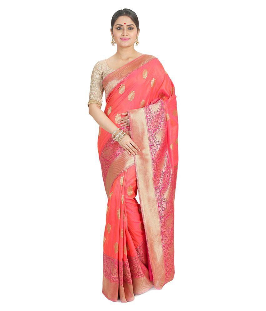 ShreeFashionistaa Peach Banarasi Silk Saree