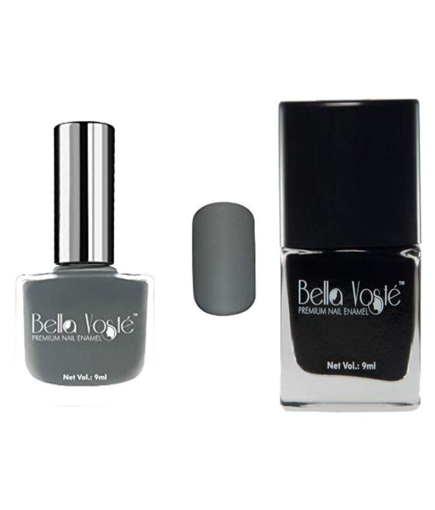 Bella Voste Combo Of 2 Nail Polish Grey& Black Shimmer 9 ml
