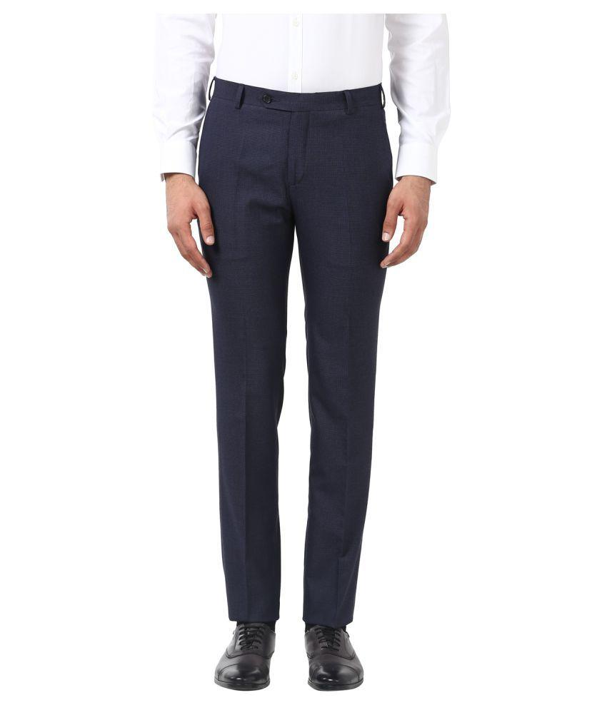 Raymond Blue Slim -Fit Flat Trousers