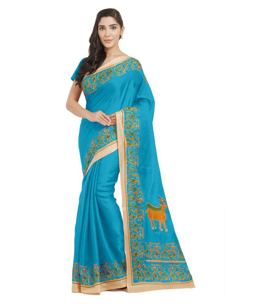 Vkaran Green and Blue Polycotton Saree