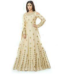 Bhuwal Fashion Beige Taffeta Anarkali Gown Semi-Stitched Suit