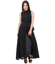 My Swag Georgette Black A- line Dress