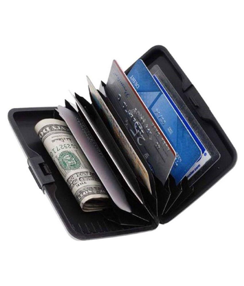 big sale 193a1 3e64d ATM Card Holder Aluminum Metal Case Box, Hard Case, Holder Business Card ID  Wallet, credit and debit card holder 6 Card Holder (Set of 2, Black)
