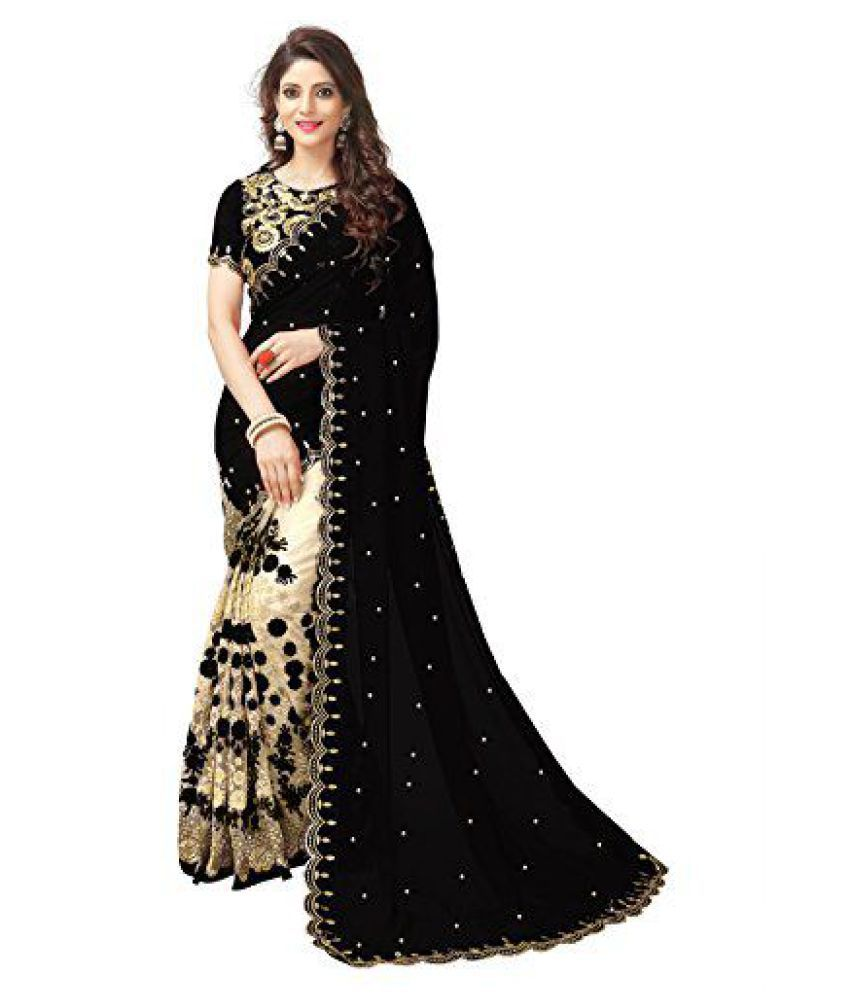 1693a77397 KK Fashion Beige and Black Georgette Saree - Buy KK Fashion Beige and Black Georgette  Saree Online at Low Price - Snapdeal.com