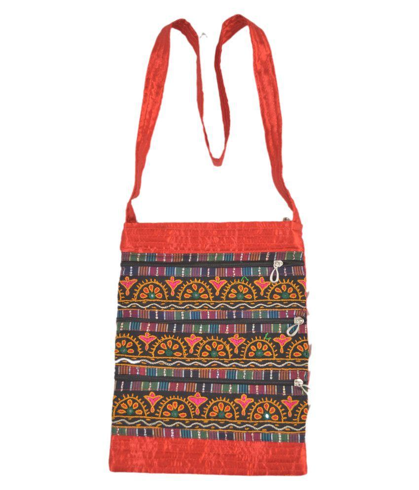 WOMEN HANDBAGS Multi Satin Sling Bag