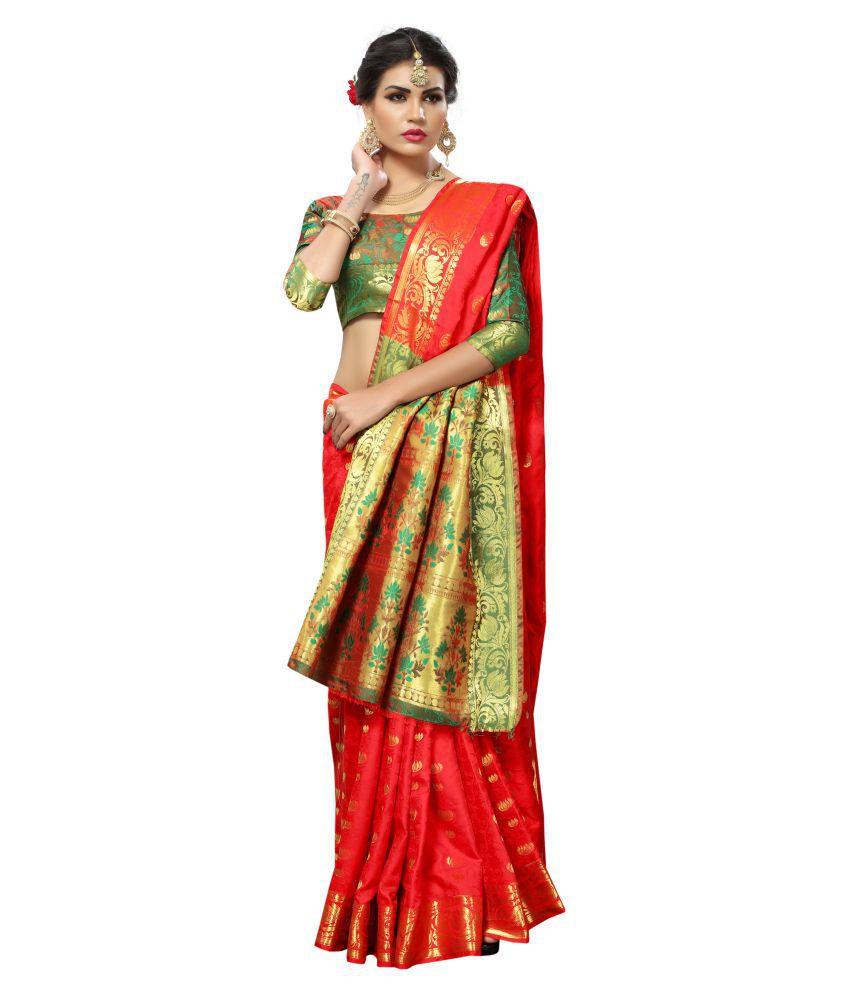 prisha mart Red and Beige Banarasi Silk Saree