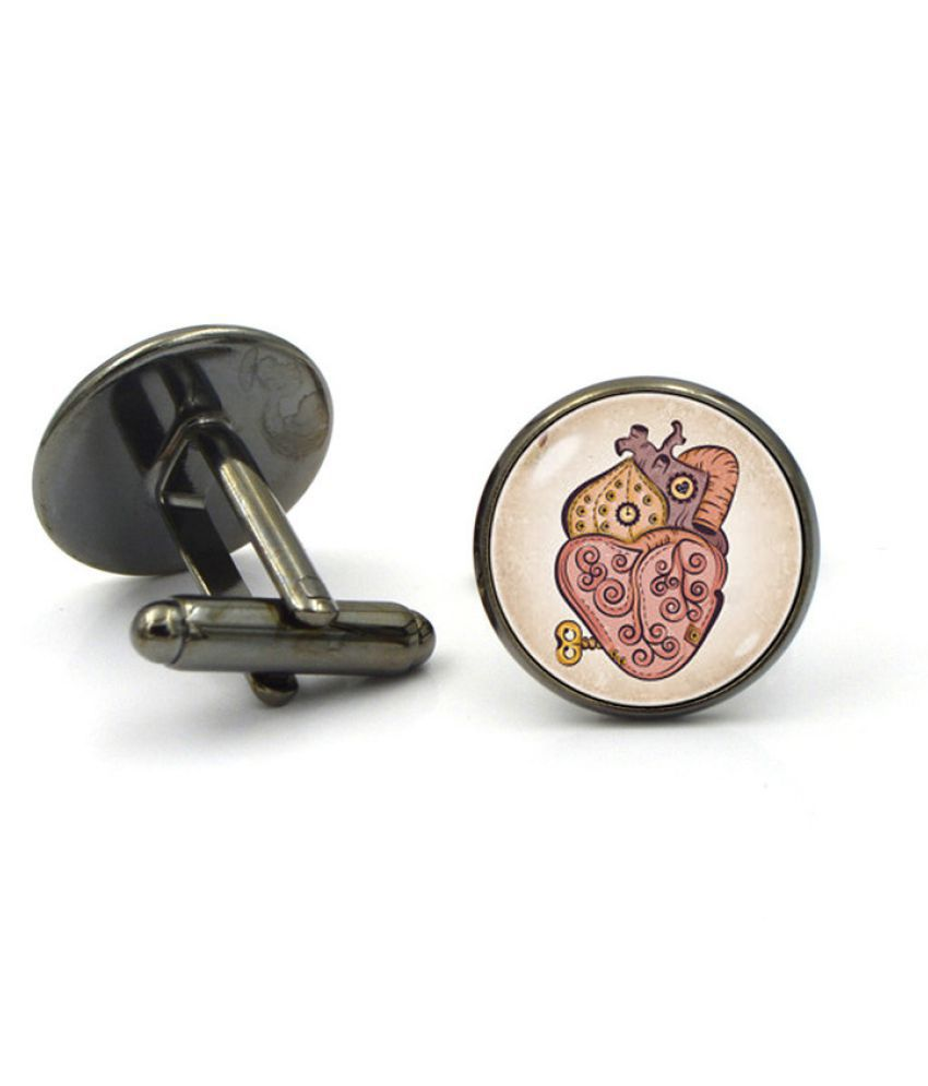 Kamalife Fashion Black Alloy Letter Gem Cufflinks&Buttons Jewellery Accessories Gift