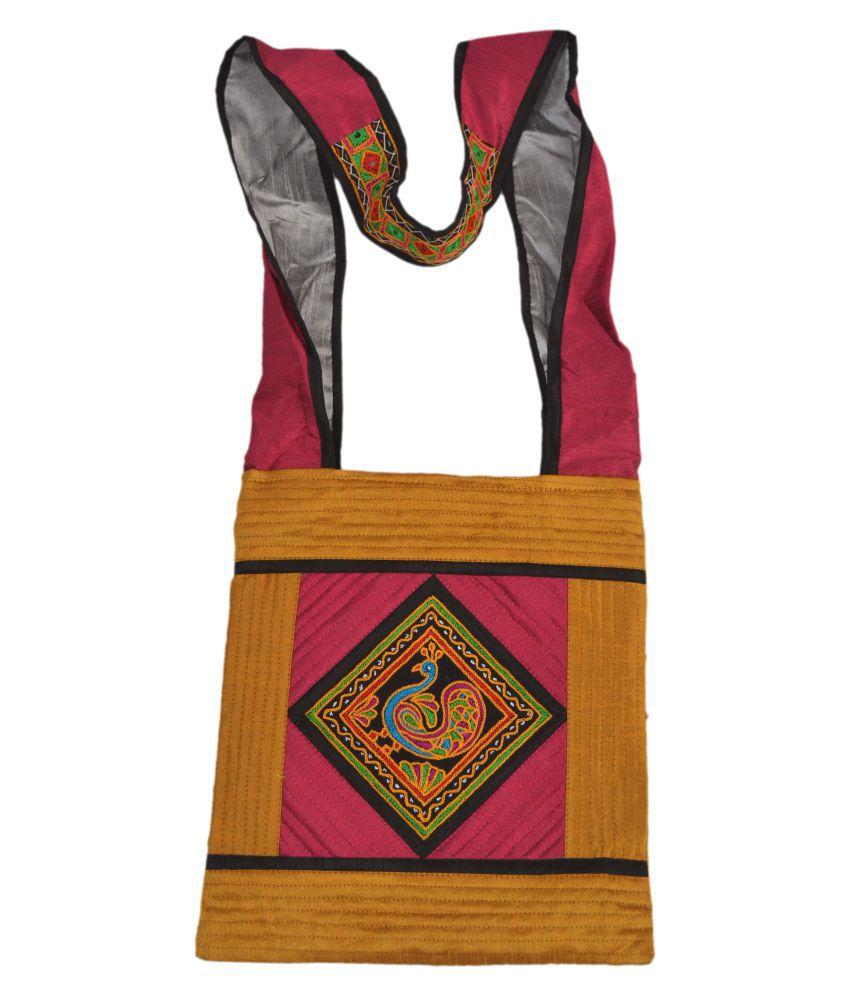 kachchh women handbag Multi Satin Sling Bag