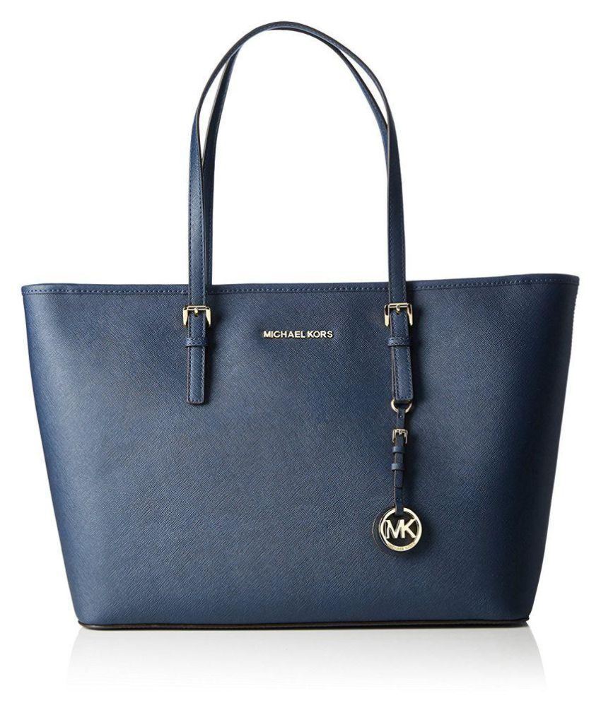 b9e404c250da Michael Kors Blue Pure Leather Tote Bag - Buy Michael Kors Blue Pure  Leather Tote Bag Online at Best Prices in India on Snapdeal