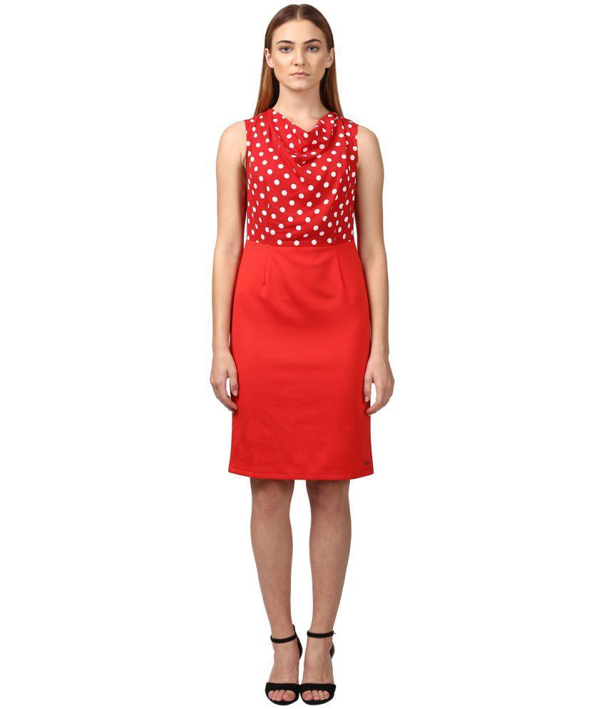 Park Avenue Woman Polyester Red Regular Dress