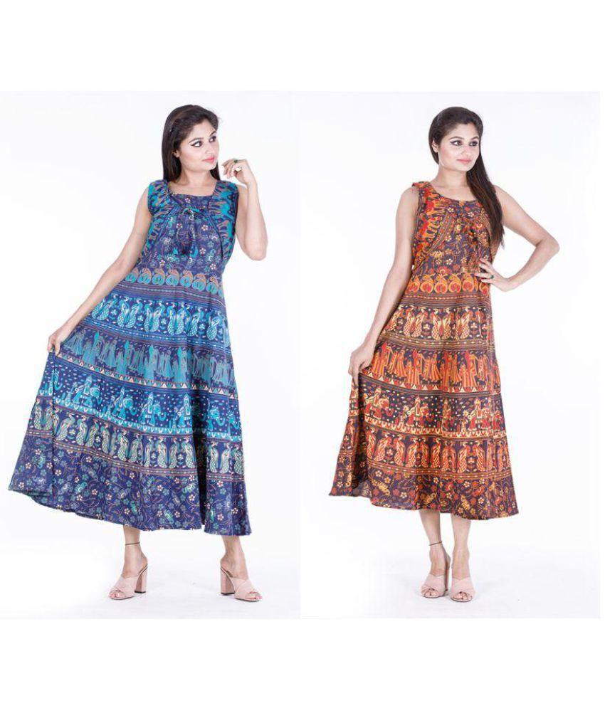 Dhruvi Cotton Blue A- line Dress