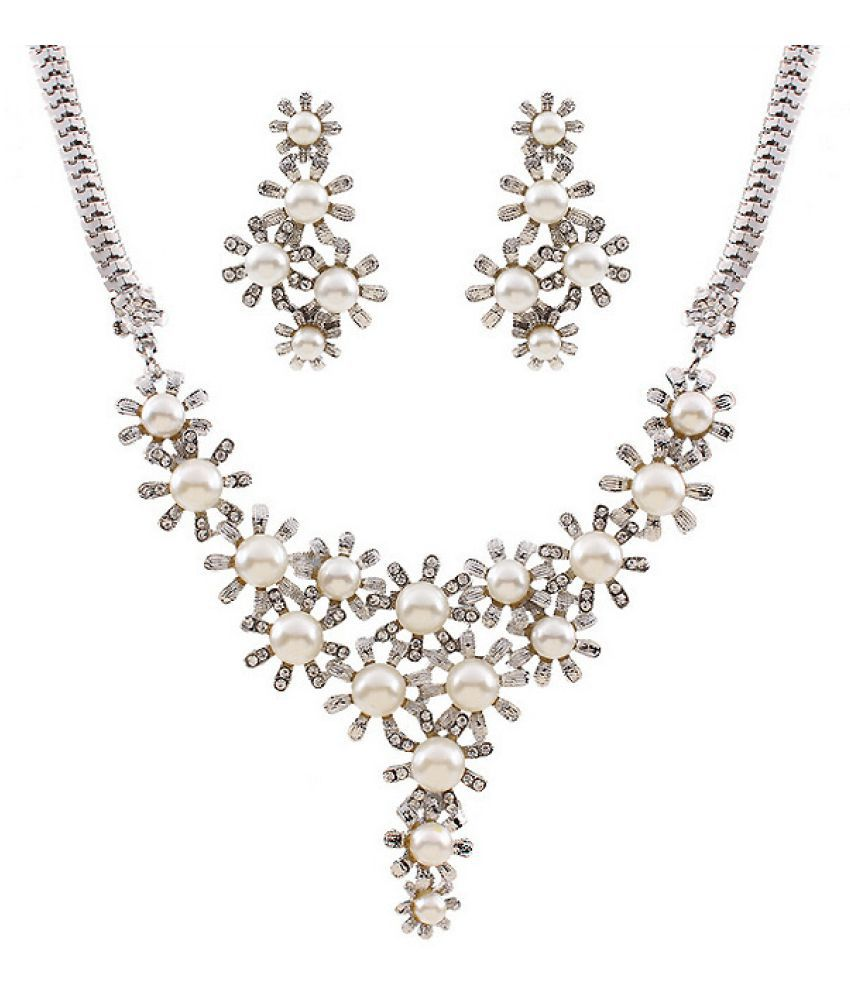 Kamalife Fashion Diamond Earring Necklace Suit Accessories