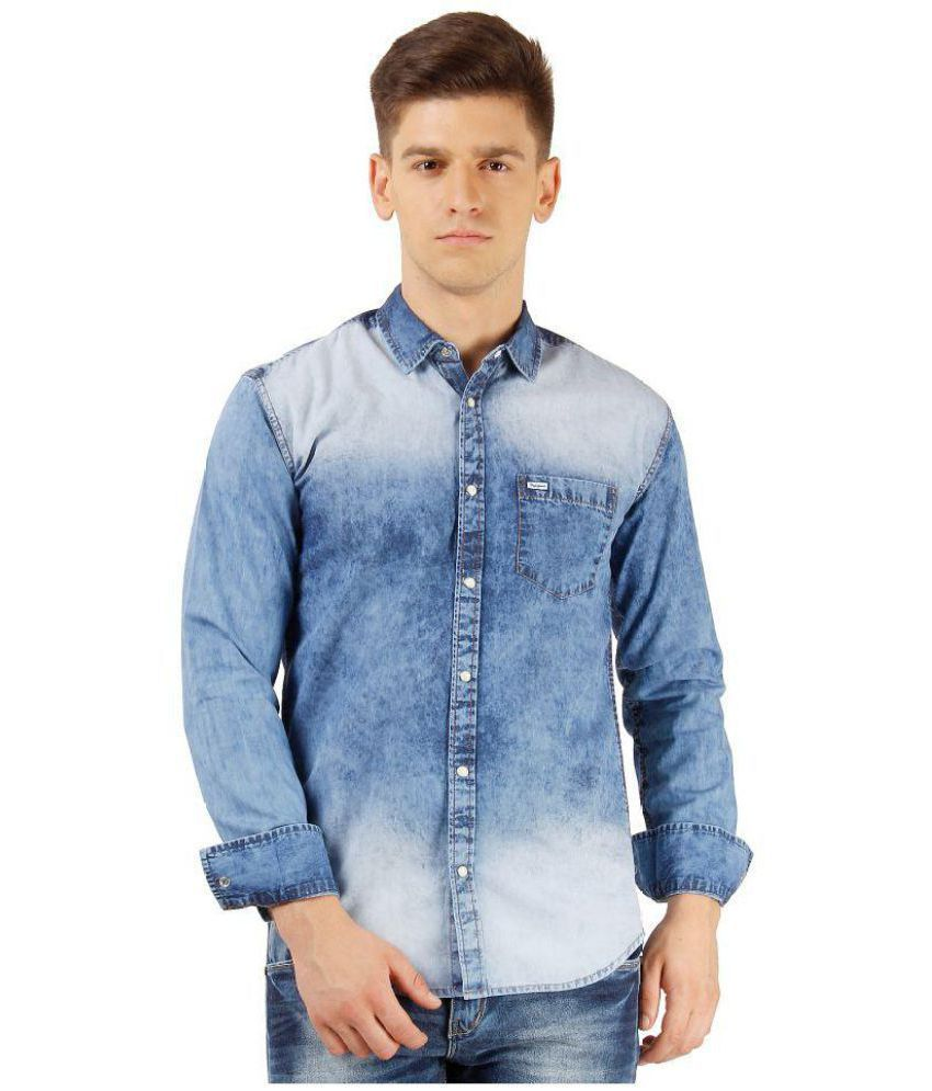 8e0d3e8944e Pepe Jeans Blue Skinny Fit Shirt - Buy Pepe Jeans Blue Skinny Fit Shirt  Online at Best Prices in India on Snapdeal