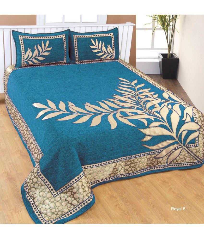 FARSH Chenille Double Bedsheet with 2 Pillow Covers