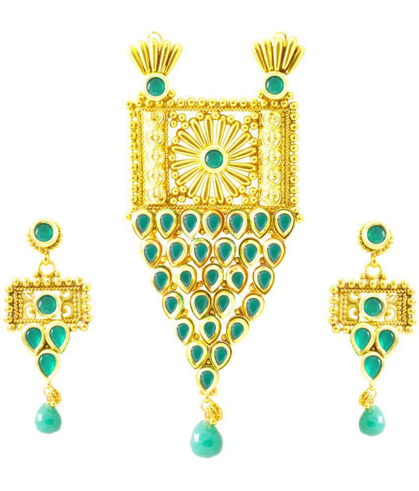 Rejewel Unique Pendant Set With Green CZ Stones For Women