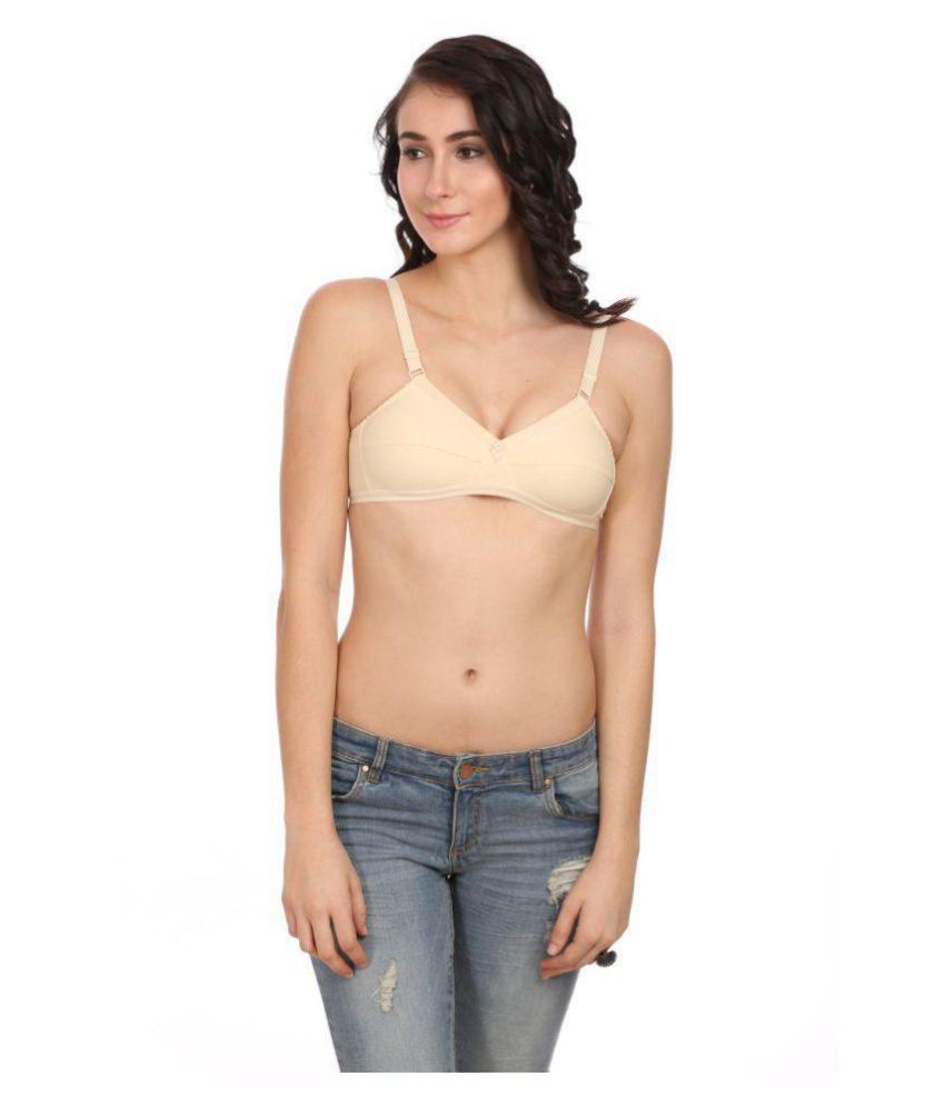 Ultrafit Cotton Lycra T-Shirt Bra - Beige