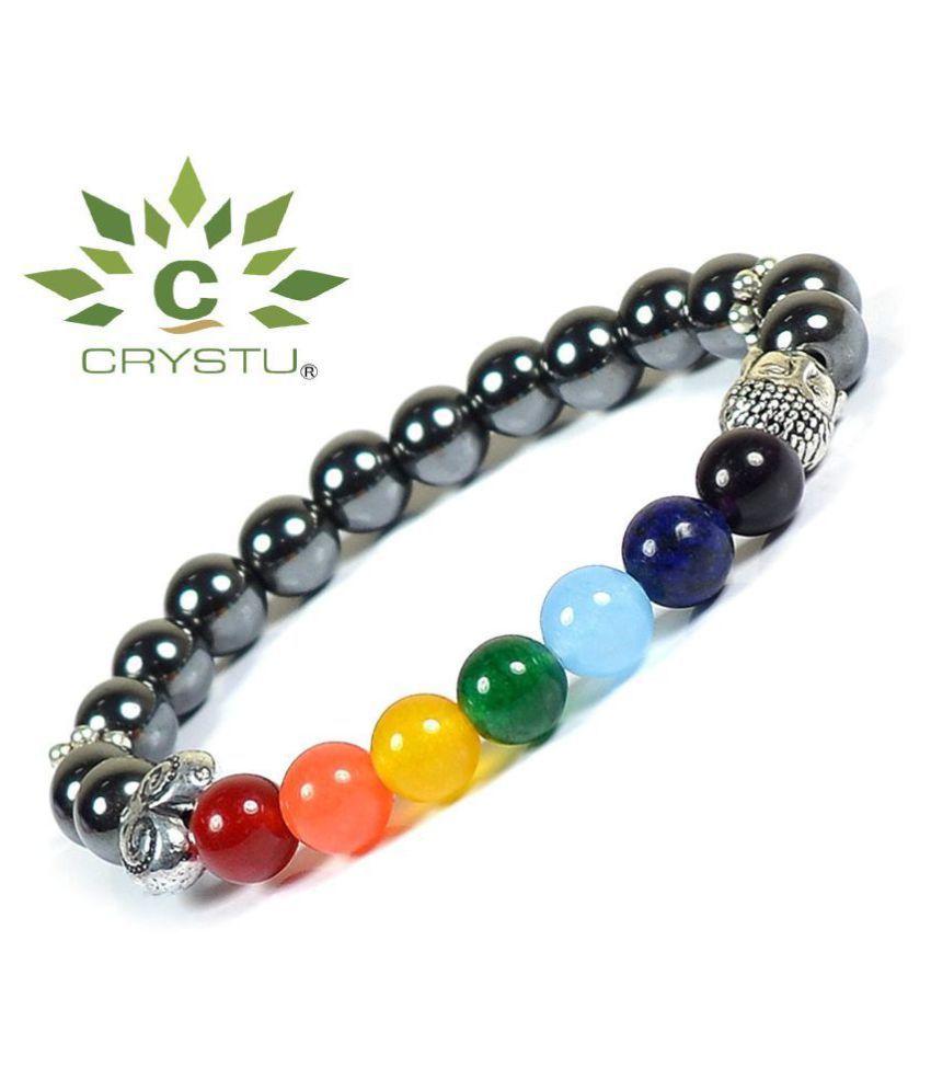 Crystu Hematite & 7 Chakra with Buddha Head 8mm Round Beads Bracelet