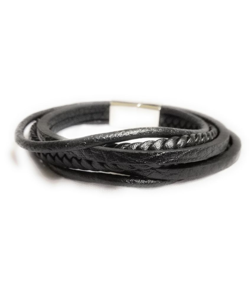 Excentric Trendy Multi Strip Full grain leather Unisex bracelet  with Dual slide magnetic clasp