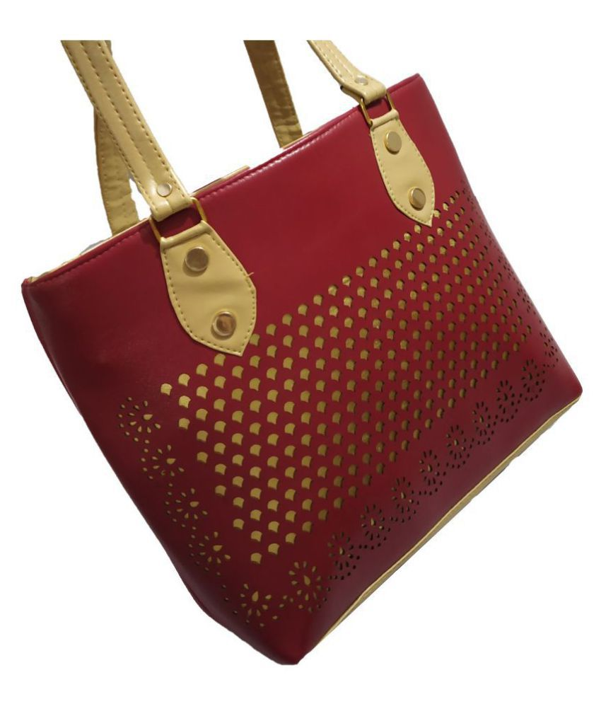 My Batua Maroon Faux Leather Shoulder Bag