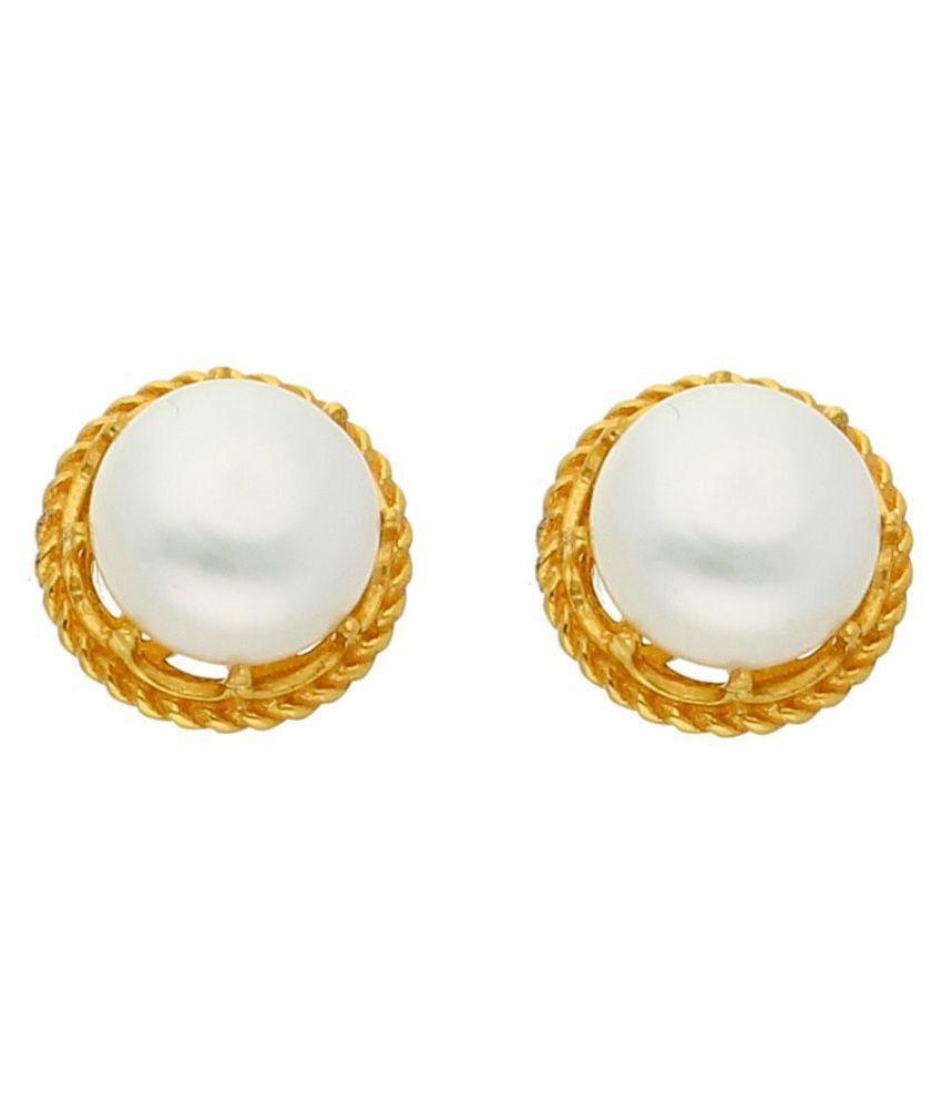 Sri Jagdamba Pearls 22k BIS Hallmarked Gold Pearl Studs