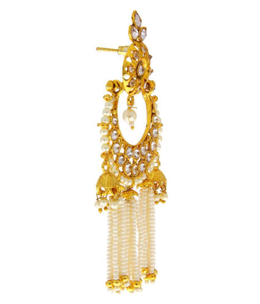 Anuradha Art Golden Finish Studded Sparkling Stone Wonderful Beads Styled TraditionalLong Earrings For Women