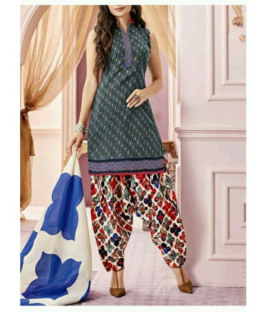 Chahat Traders Grey Cotton Blend Dress Material