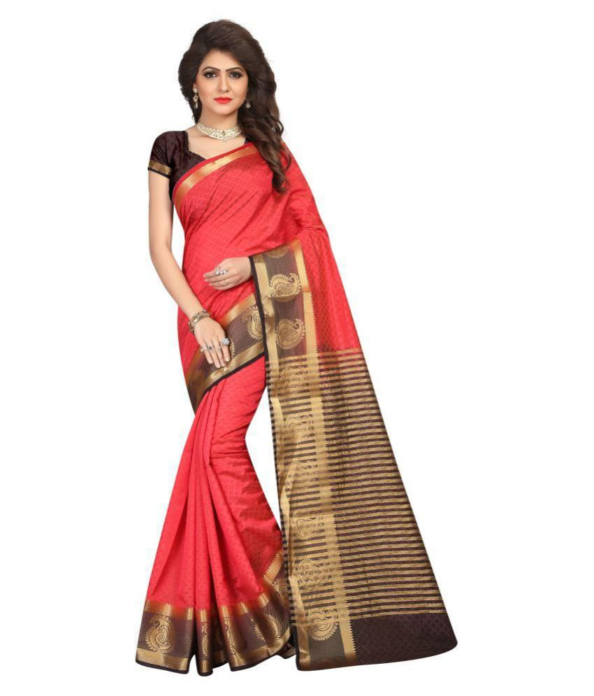 Adyah Enterprise Red Art Silk Saree