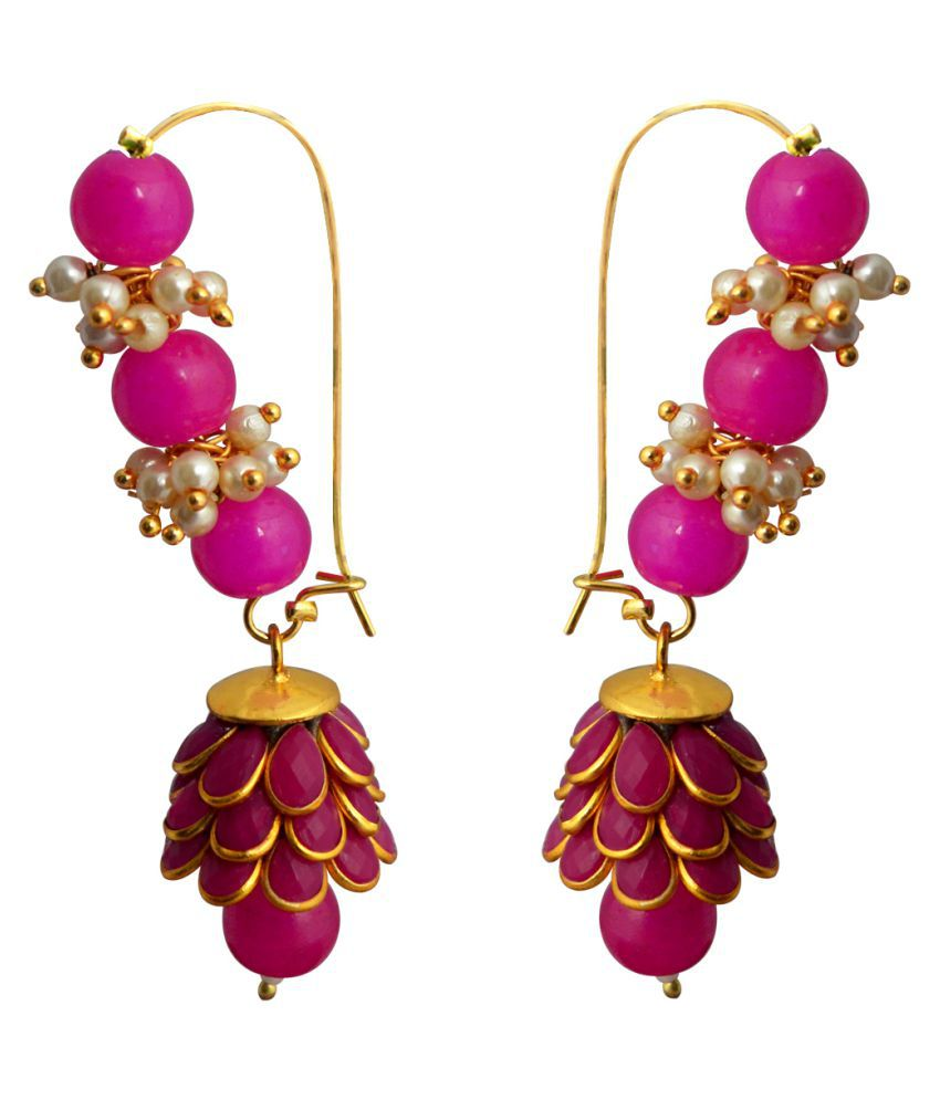 Ethnic Loop with Pachchi Dome Earring Dark Pink