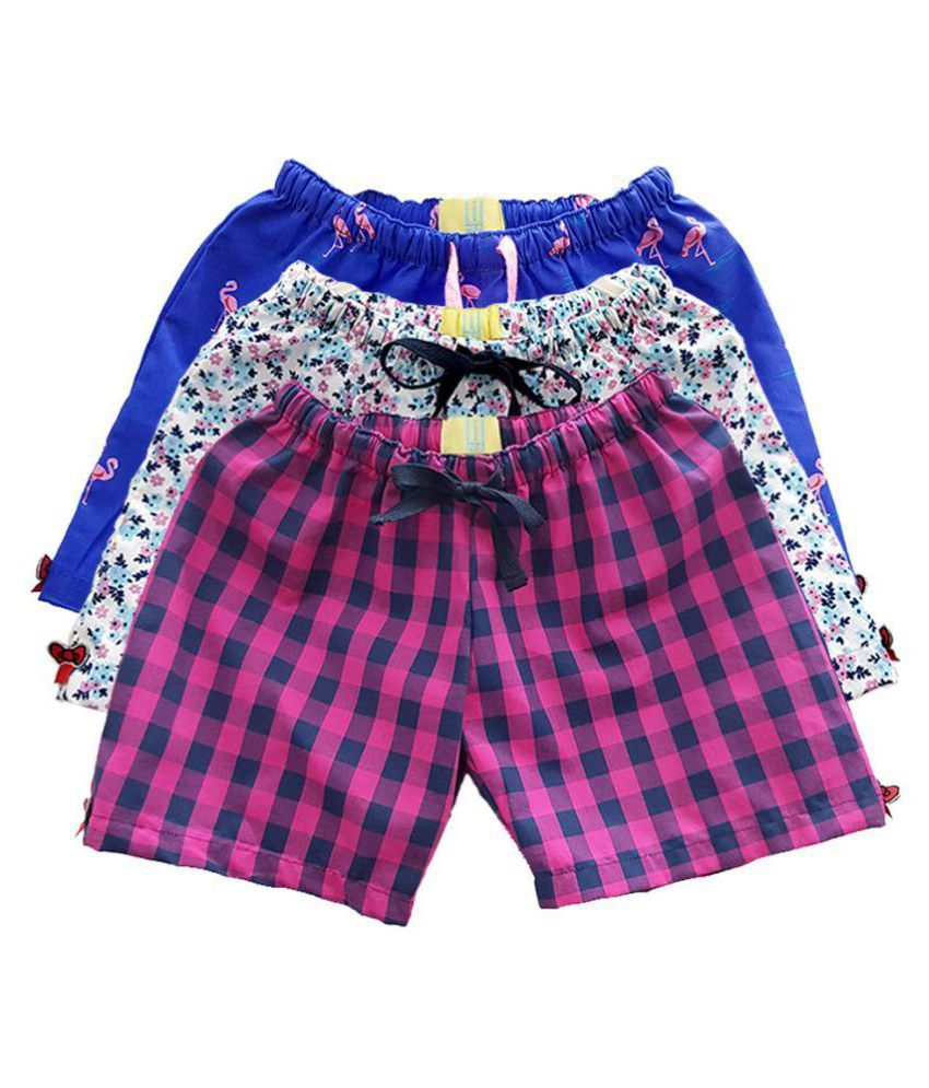 Lil Mee Girls Printed Cotton Shorts (Pack of 3)