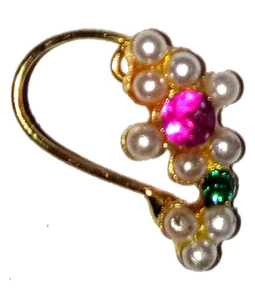 Traditional Golden Nosepin for women & Girls by shrungarika