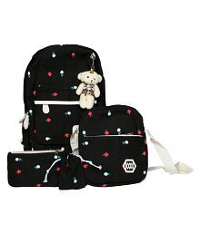 Millenial Chic Black 4pc combo set of stylish college/school bagpack, trendy sling and cute pouch/pencil box for girls and boys