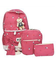 Millenial Chic 4pc dark pink combo set of stylish college/school bagpack, trendy sling and cute pouch/pencil box for girls and boys