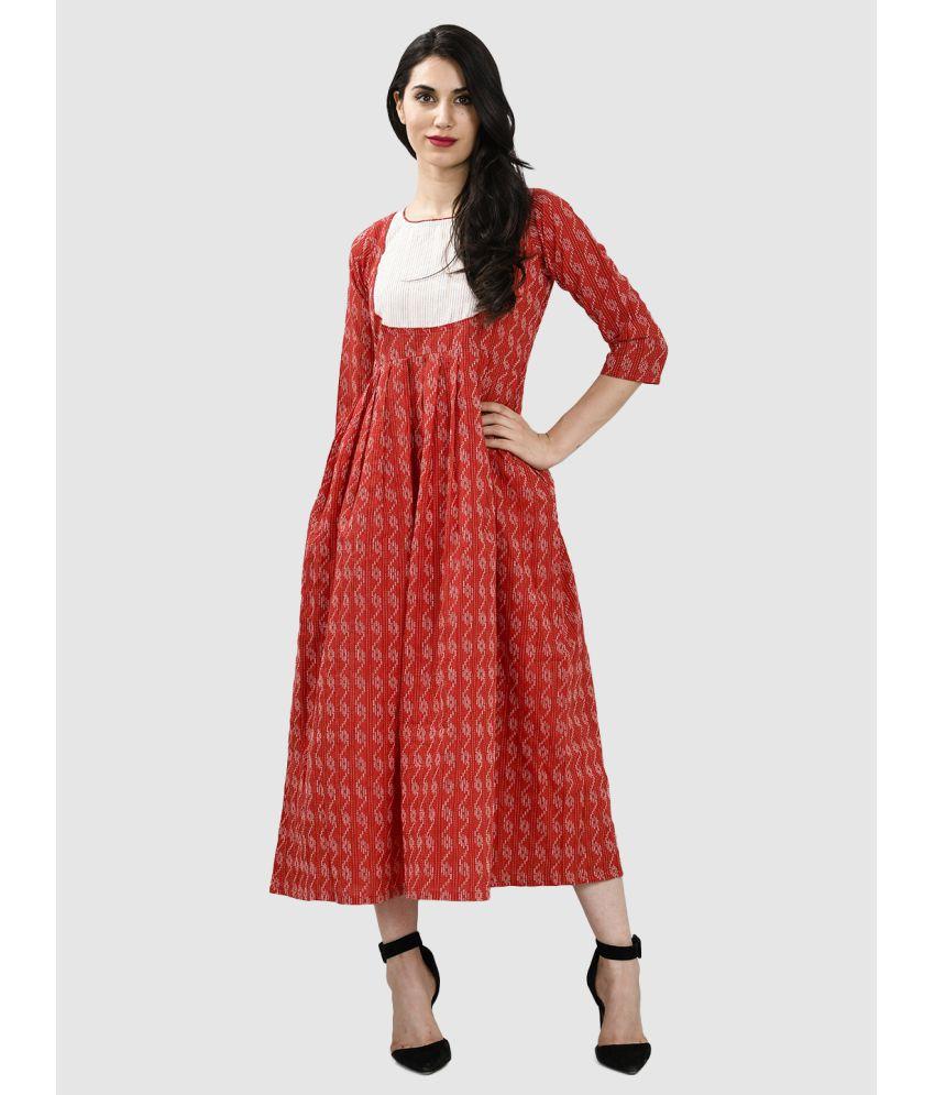 Elenora Cotton Red Empire Dress