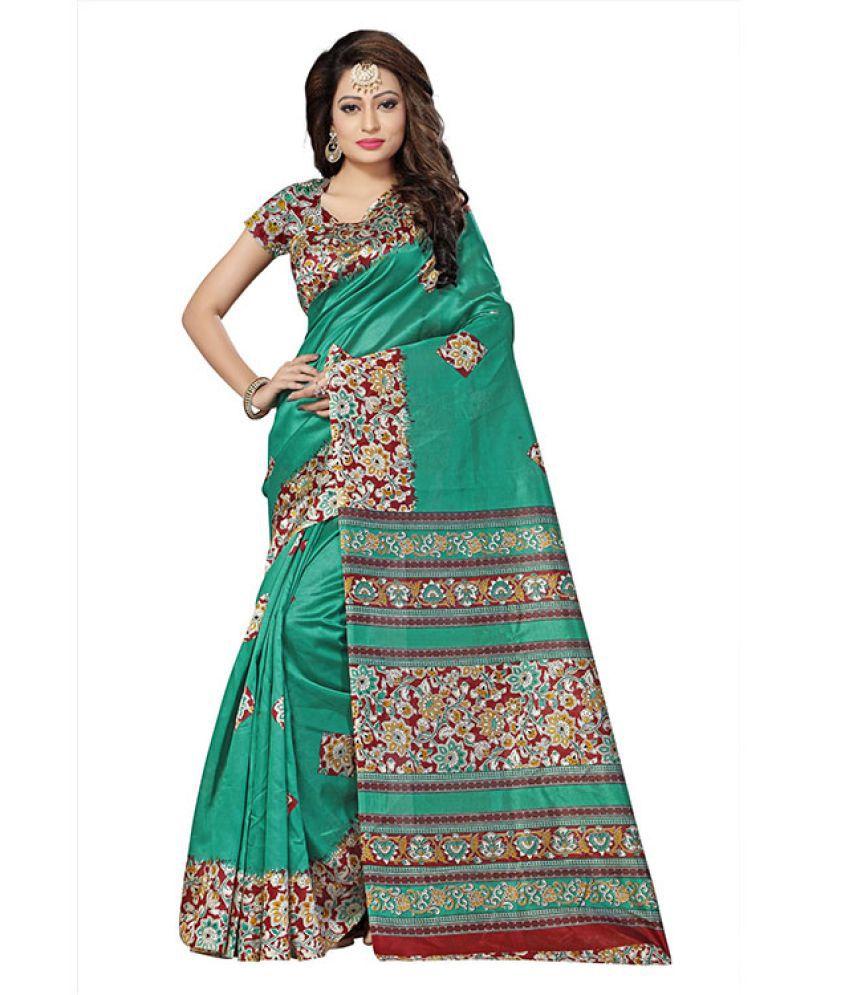 GLAMIFY Green Art Silk Saree