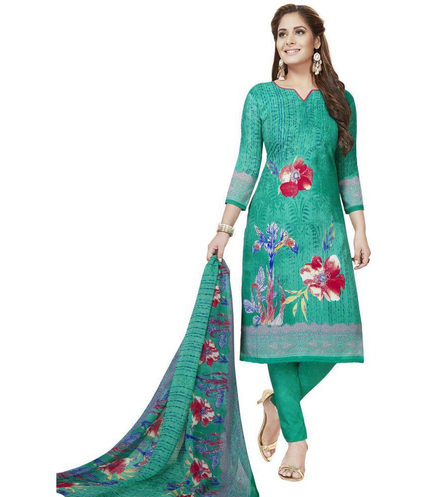 Risera Green Crepe Dress Material