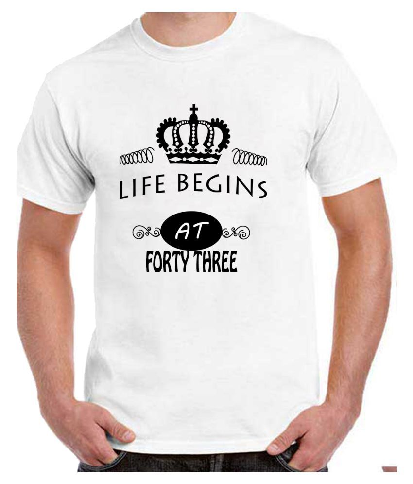 Ritzees Unisex Half Sleeve Dry Fit White Polyester T-Shirt on 43Rd Birthday-XXL