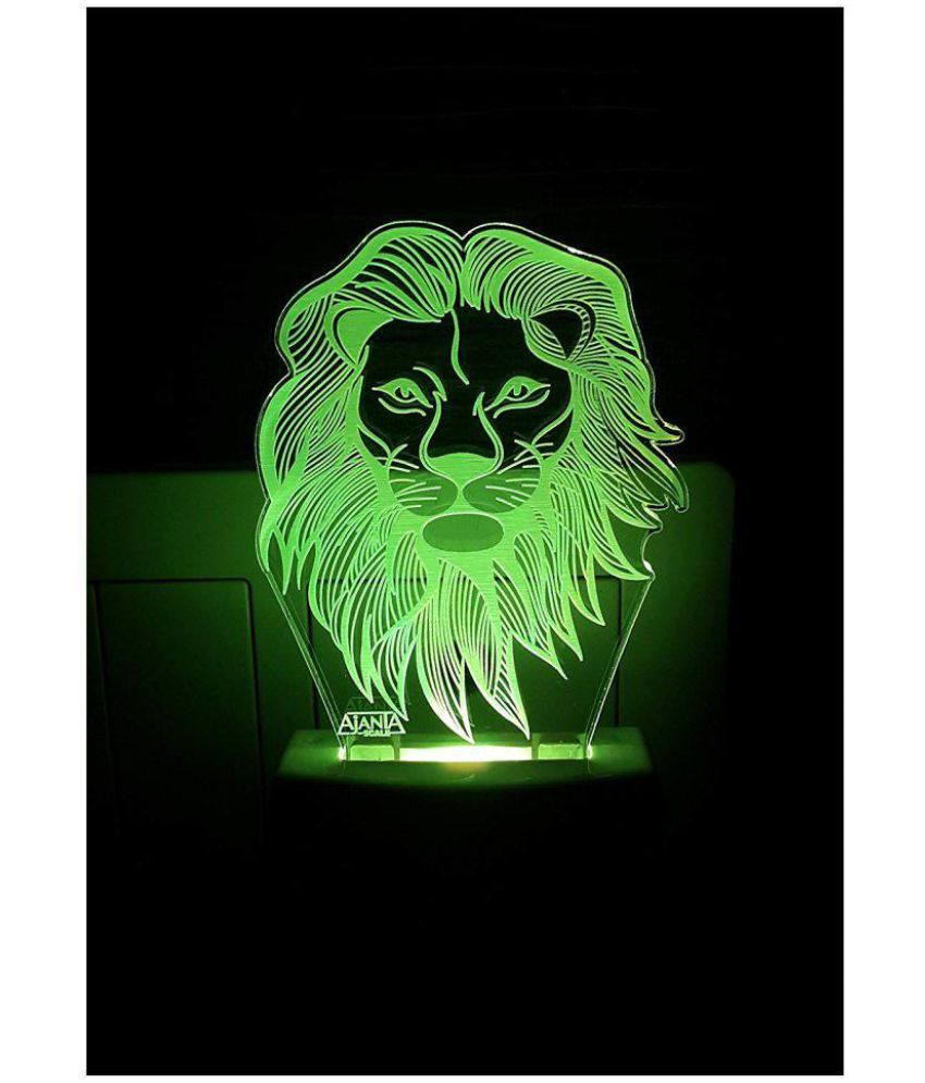 Ajanta Lion Face 2024   3D Night Lamp Multi - Pack of 1