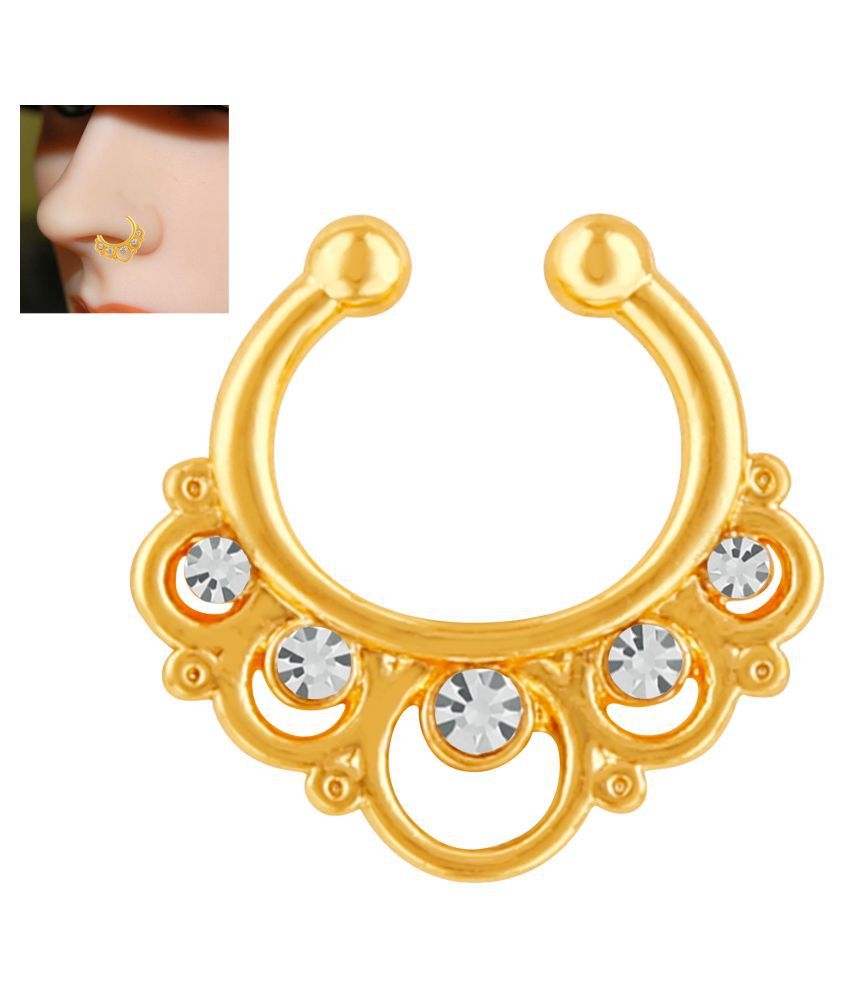 Mahi Gold Plated Gleaming Crystals Nose Ring for girls and women NR1100159G