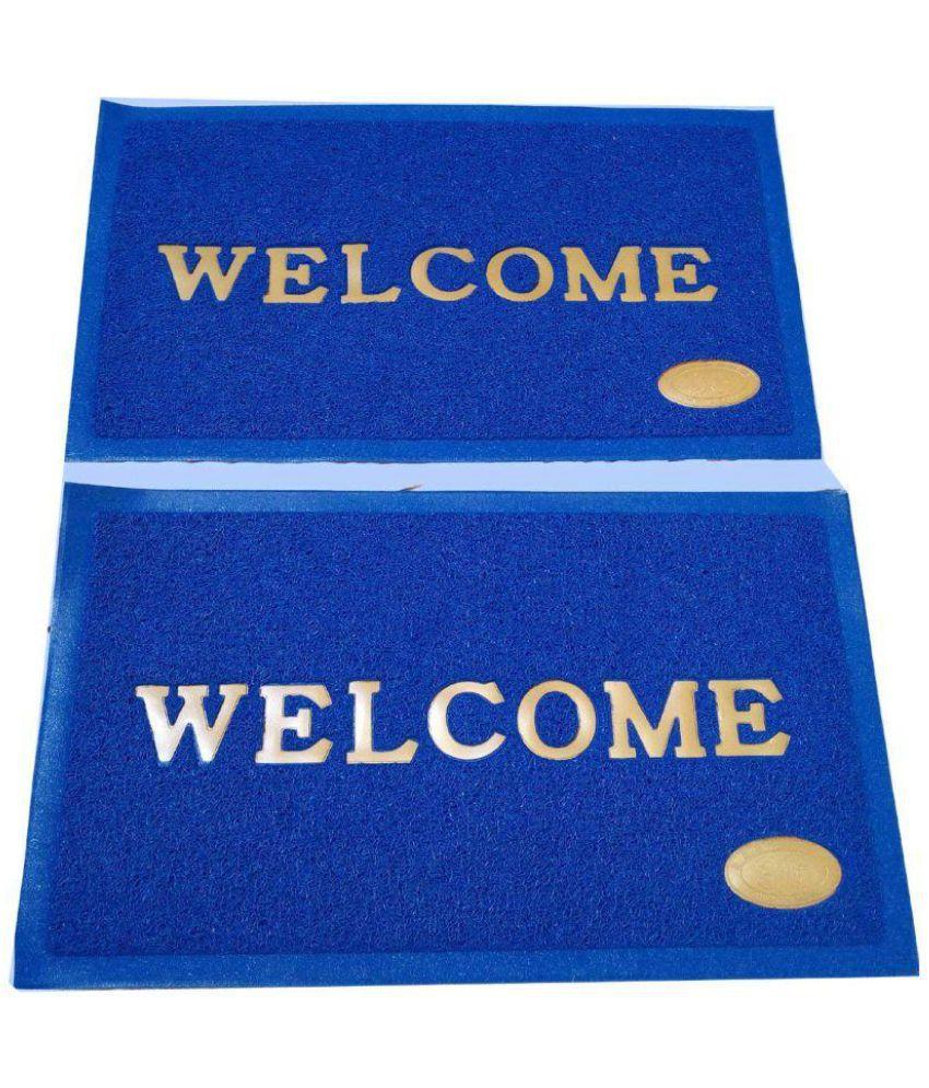 Modern Home Blue Set of 2 Anti-skid Floor Mat