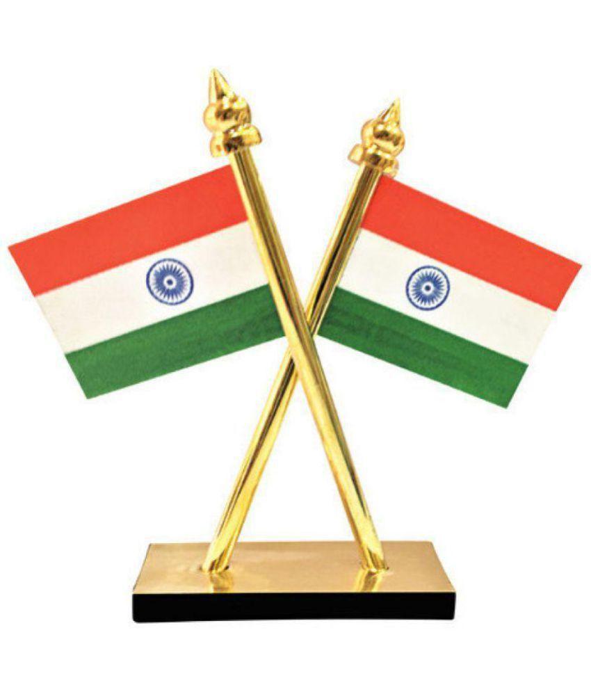 table top car panel brass indian national flag tiranga showpiece