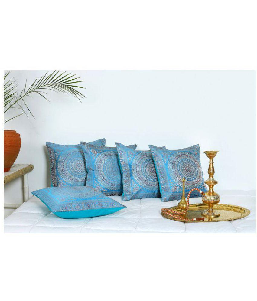 Handicraft-Palace Set of 5 Silk Cushion Covers 40X40 cm (16X16)