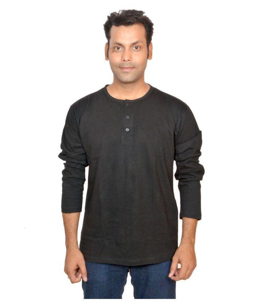 DYFIAN Black Henley T-Shirt Pack of 1