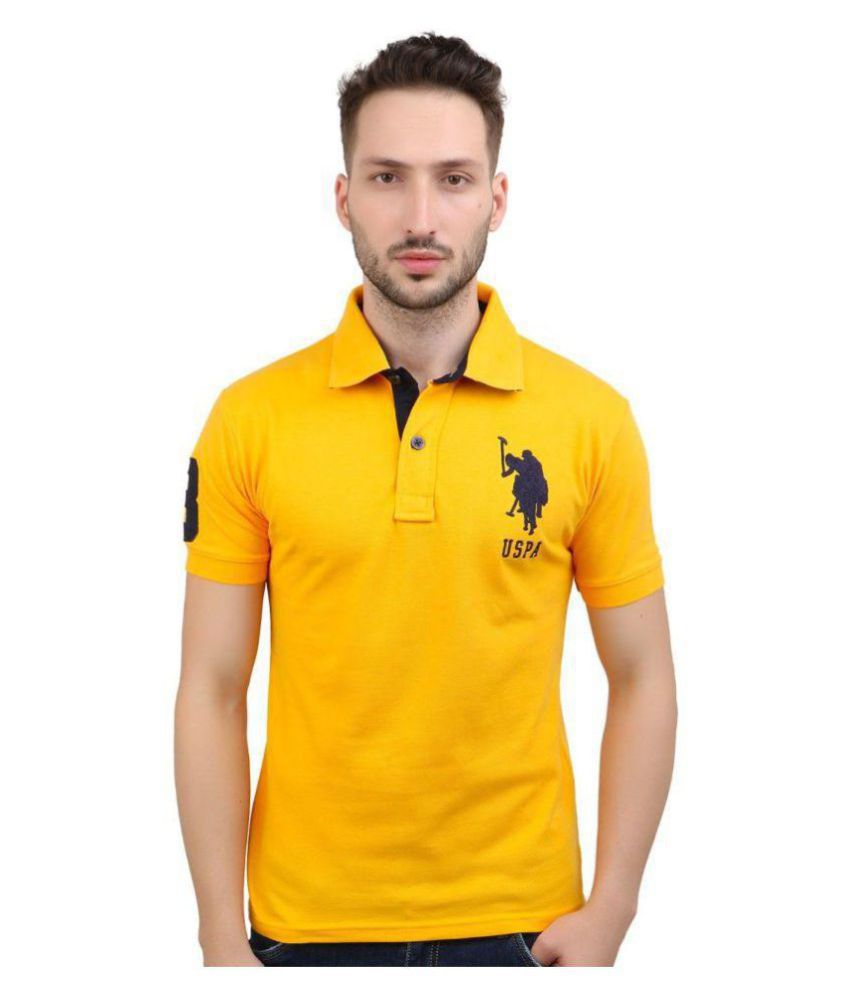 U.S. Polo Assn. Yellow Regular Fit Polo T Shirt - Buy U.S. Polo Assn.  Yellow Regular Fit Polo T Shirt Online at Low Price - Snapdeal.com 9067ab2e5