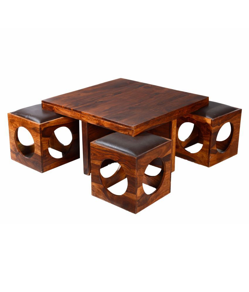 ethnic india art coffee table with stool in square shape of sheesham rh snapdeal com