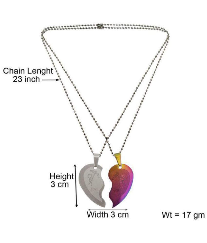 4c4bb002a7 ... Menjewell Heart Jewellery Collection Multicolor Connecting Hearts Names  Engraved Couples Pendant For Men