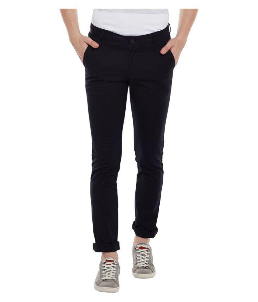 Duke Black Slim -Fit Flat Trousers