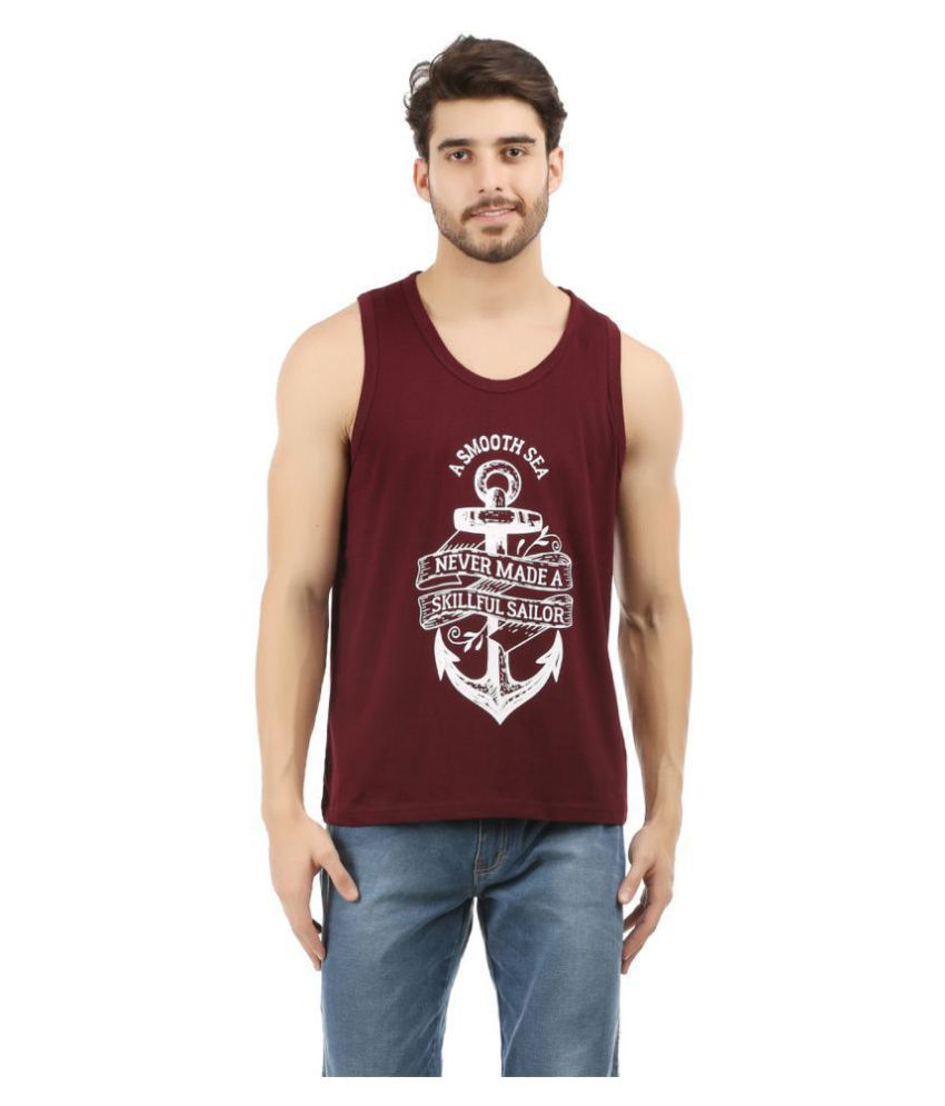 Trends Tower Maroon Sleeveless T-Shirt