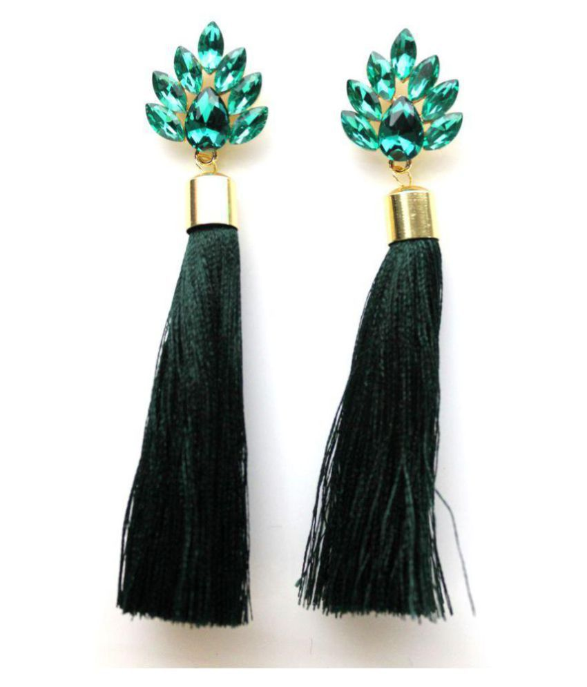 VSASA's Special Handcrafted Coloured Stoned with Long thread Tassel Drop Earrings for Girls/Women