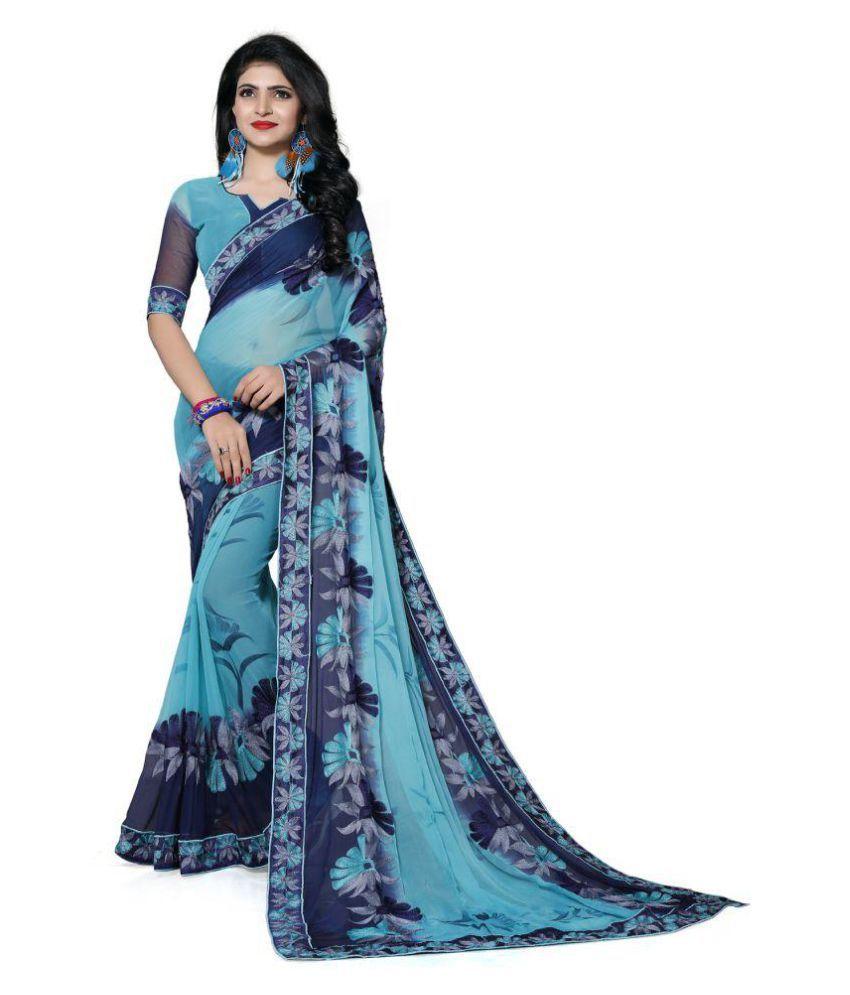 ISHA TRADE Blue Chiffon Saree
