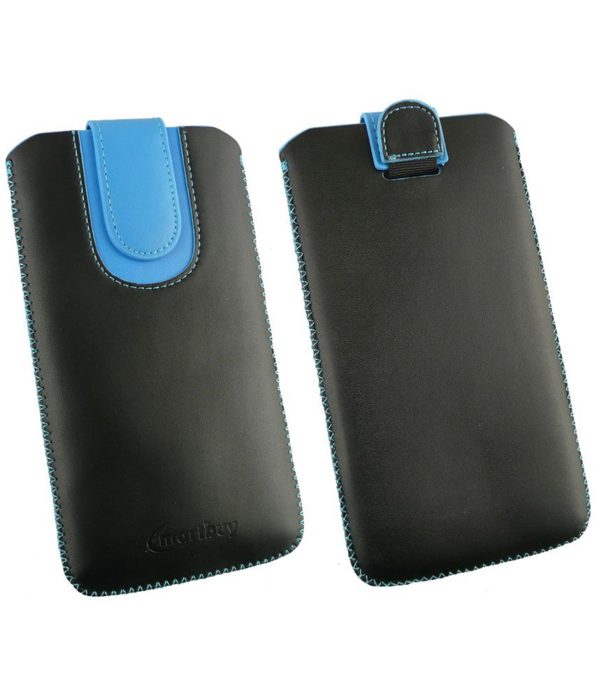 Oppo A53 Flip Cover by Emartbuy - Multi ( Magnetic Pouch Size 3XL ) Black/Blue Plain
